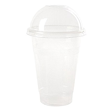 16 Ounce Plastic Lid - Dart Conex Plastic CLEAR Cups with Dome Lids for Iced Coffee Bubble Boba Tea Smoothie, 16 oz./100 Set