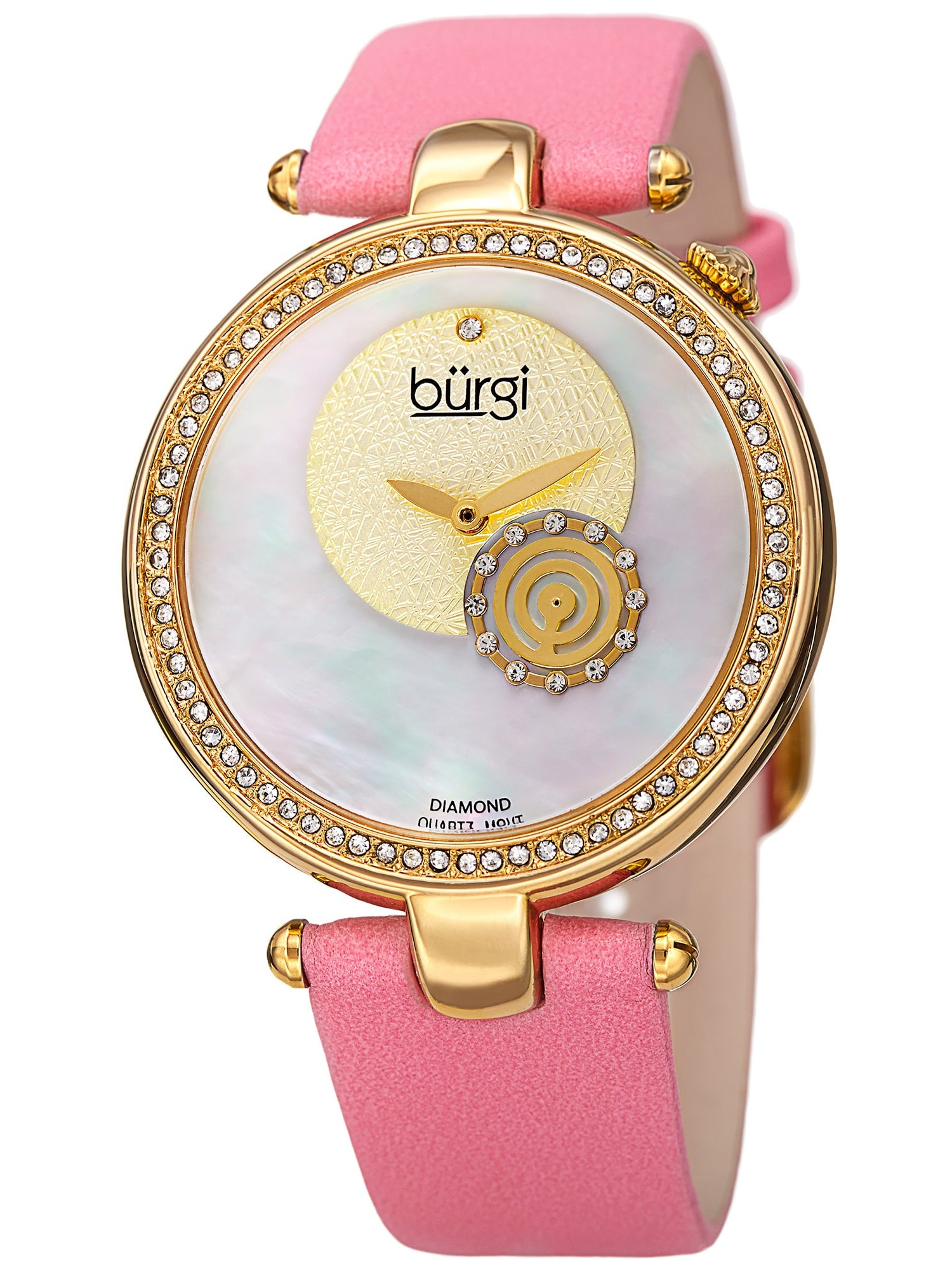 Women's Sparkling Diamond Crystal Gold-Tone/ Pink Leather Strap Watch with FREE Bangle