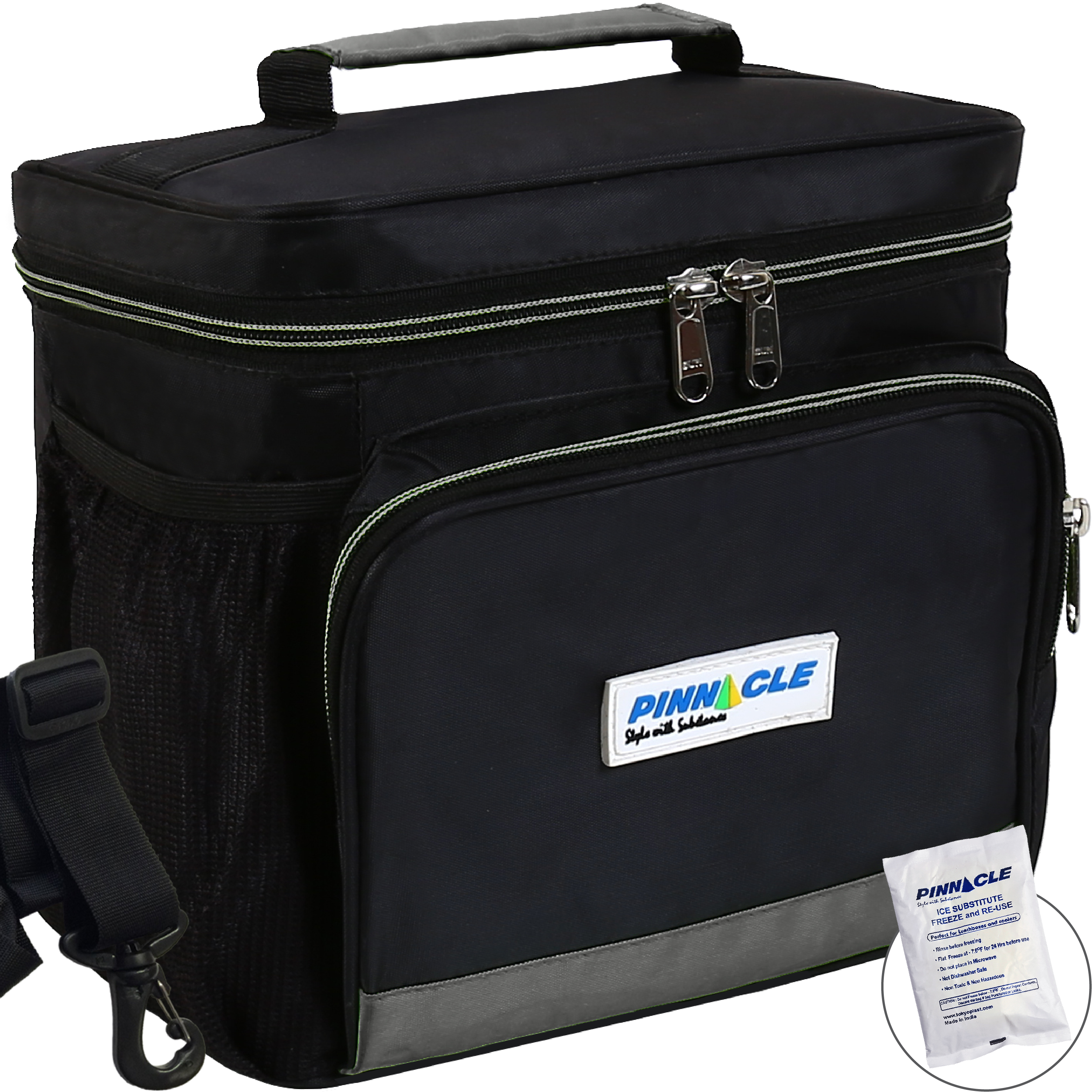 INSULATED LUNCH BAG KIT For Work - Pinnacle Cooler Bag for Adults, Ladies and Men + GEL ICE PACK - Durable Nylon, Double Zipper - Black & Gray