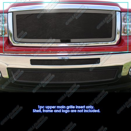 Fits 2007-2013 GMC Sierra/Denali 1500 New Body Black Mesh Grille Grill Insert (Gmc Sierra 1500 New Body)