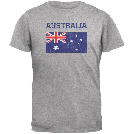 World Cup Distressed Flag Australia Heather Grey Adult T-Shirt - (Best T Shirts Australia)