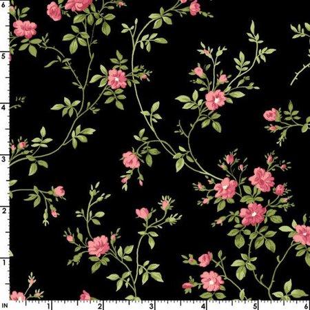 Delicate Vine Design - Poppies Delicate Vines on Black~Cotton Fabric By Maywood Studio