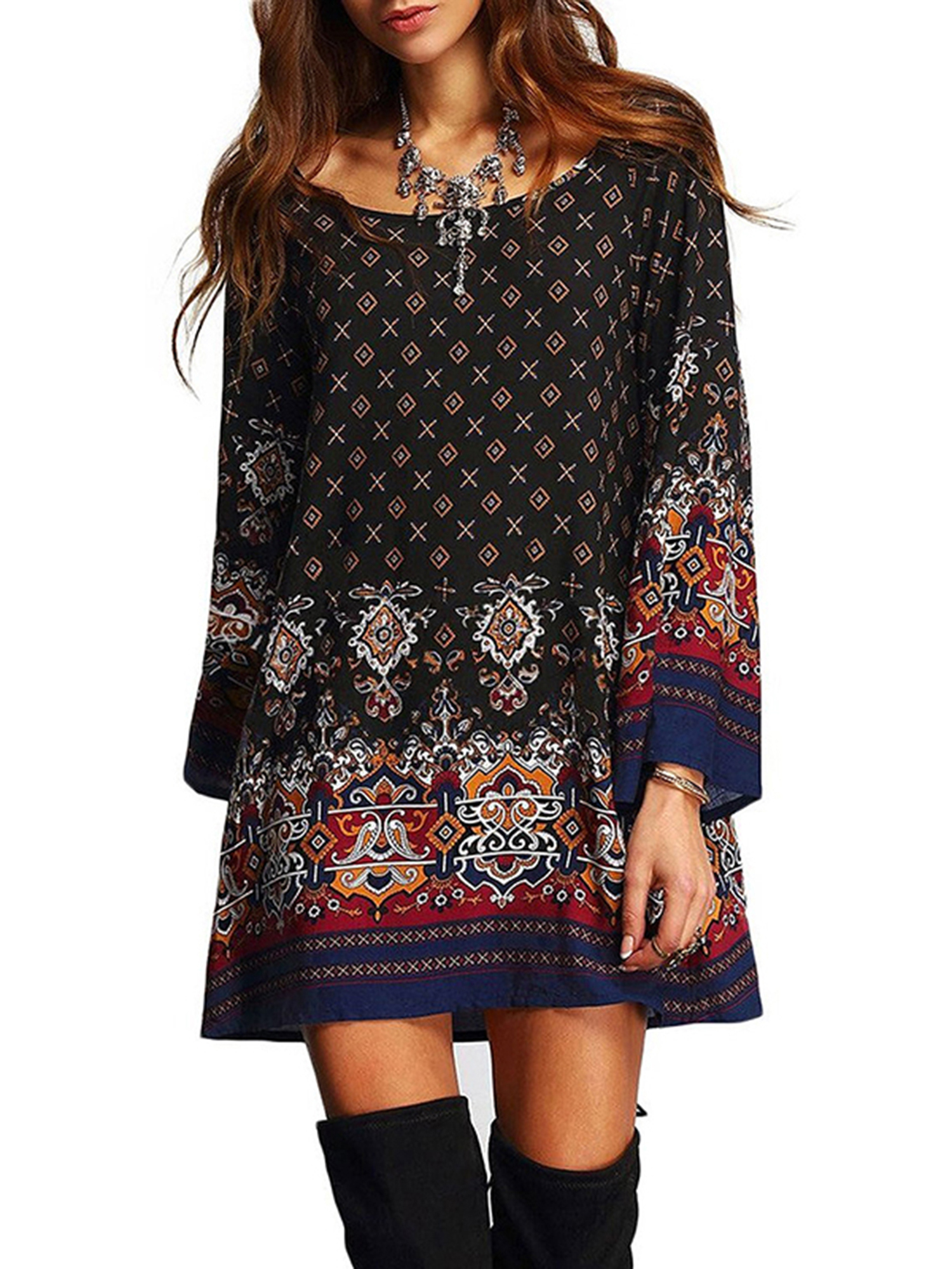 BOHO Womens Casual Floral Printed Dress Loose Long Tops Ladies Summer Party...