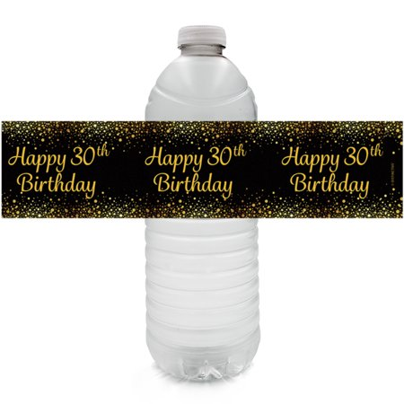 30th Birthday Water Bottle Labels, 24 ct - Happy 30th Birthday Party Decorations Black and Gold 30 Birthday Party Supplies - 24 Count Sticker