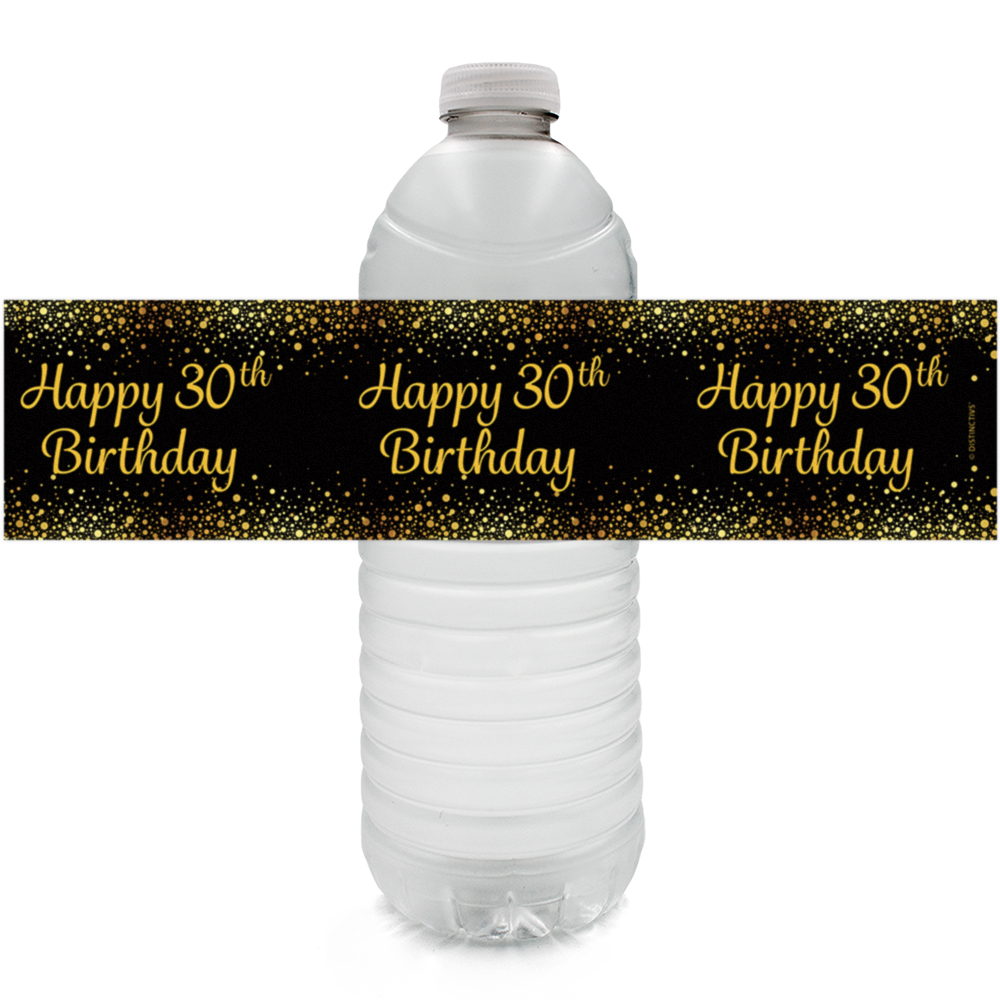30th Birthday Water Bottle Labels, 24 ct - Happy 30th Birthday Party Decorations Black and Gold 30 Birthday Party Supplies - 24 Count Sticker Labels