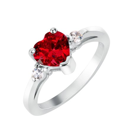 Heart Simulated Garnet Cubic Zirconia Ring Sterling Silver 925 ()