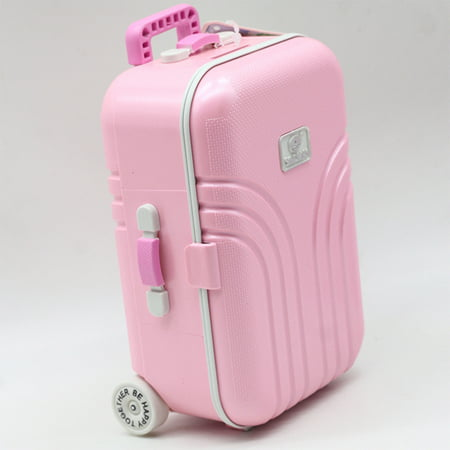 Cute Plastic Rolling Suitcase Mini Luggage Box for BJD Dolls Color:Pink Height:17cm * 11.5cm * -