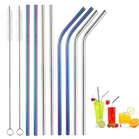Uarter 10 Pcs Reusable Stainless Steel Straws Set with 2 Cleaning Brushes Straight Drinking Straws Multi-purpose Bent Drinking Suckers