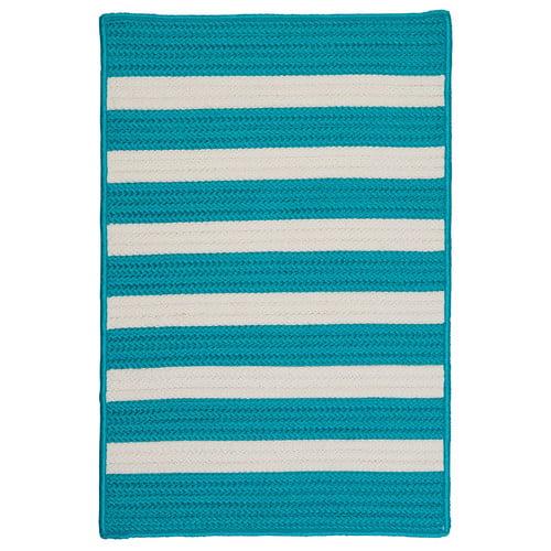 Colonial Mills Stripe It Turquoise Indoor/Outdoor Area Rug