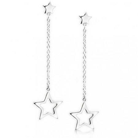Celestial Patriotic USA Rock Star Chain Long Linear Dangle Earrings For Women Girlfriend Teen 925 Sterling Silver 1.9 In Long Linear Earrings