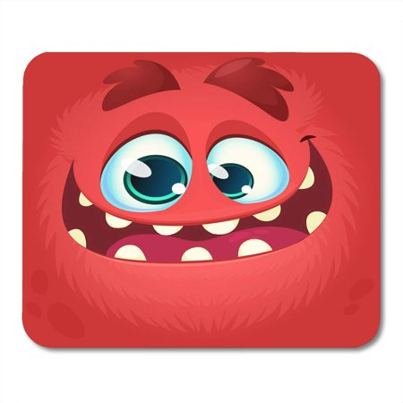 LADDKE Doodle Character Cartoon Monster Face Halloween Red Avatar with Wide Smile Cute Mouth Mousepad Mouse Pad Mouse Mat 9x10 inch - Cute Halloween Monsters