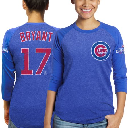 best website 4a5b8 b499e Kris Bryant Chicago Cubs Majestic Threads Women's 2016 World Series  Champions Name and Number Raglan 3/4-Sleeve T-Shirt - Royal - S
