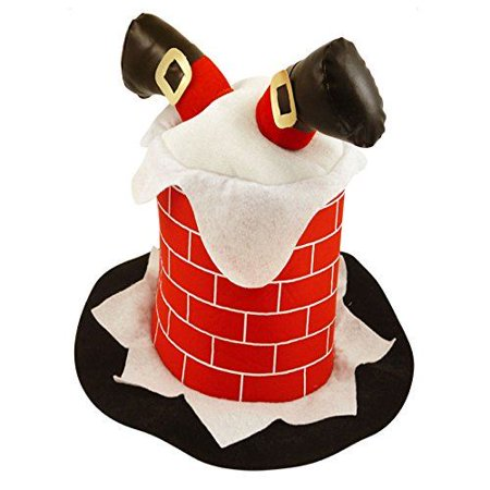 Novelty Funny Christmas Hat Stuck In Chimney Xmas Fancy Dress Party