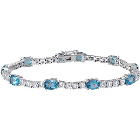 Lab Created Ruby and CZ Silver-Tone Tennis Bracelet, 7.5