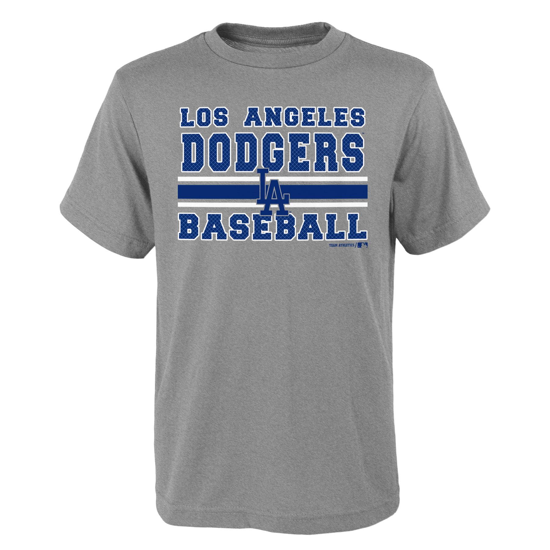 MLB Los Angeles DODGERS TEE Short Sleeve Boys OPP 90% Cotton 10% Polyester Gray Team Tee 4-18