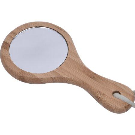 Spa Wellness Handheld Beauty Mirror, Round Bamboo