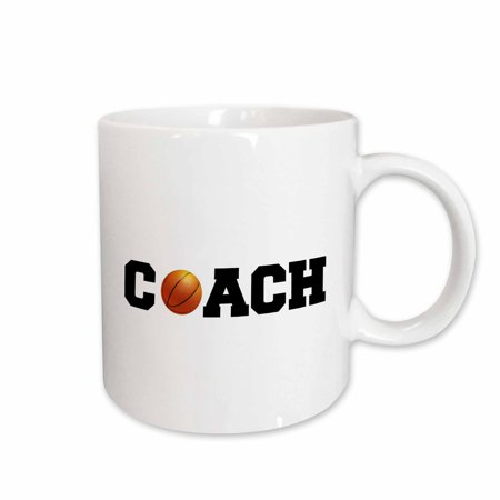 3dRose coach, black letters with basketball on white background, Ceramic Mug, 11-ounce