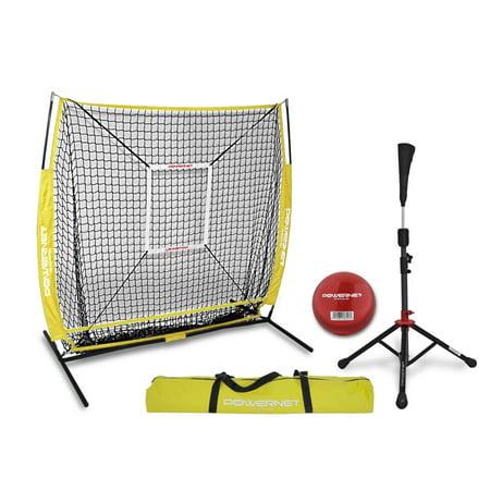 adbb8b3e0 PowerNet Practice Net 5 x 5 (Bundle with Strike Zone, Batting Tee, and  Training Ball) for Baseball Softball - Walmart.com