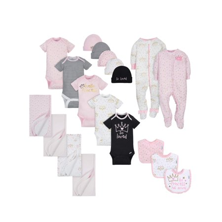 Gerber Layette Essentials Baby Shower Gift Set, 19pc (Baby Girls)