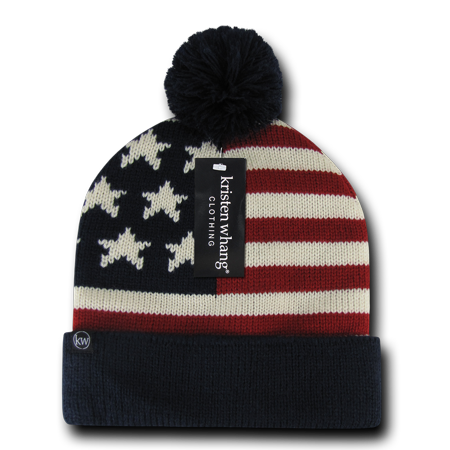 Warm American USA Flag Stars Stripes Beanies Beany For Men Women Caps Hats  With Pom Pom Top Winter - Walmart.com 07c88180420