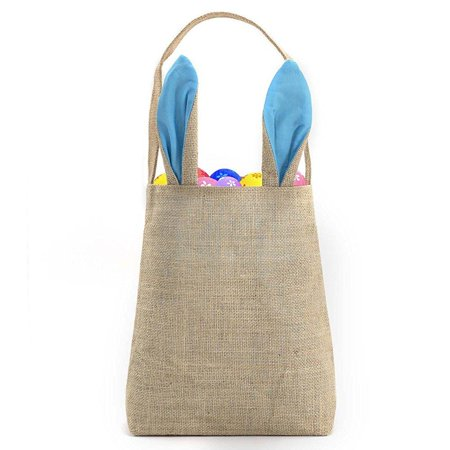 best easter bunny bag - easter basket tote handbag - dual layer bunny ears design jute cloth material - excellent for carrying eggs gifts to easter party, 10 x 4 x 12, hessian-light