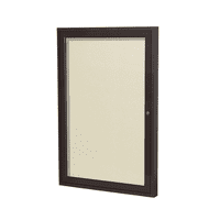 PB12418VX-181 Ghent 1 Door Enclosed Vinyl Bulletin Board with Bronze Frame Wall Mounted TackBoard, 24 in H x 18 in W, Caramel