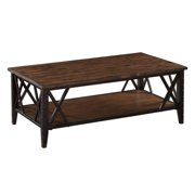 Magnussen Fleming Rectangle Rustic Pine Wood and Metal Coffee Table