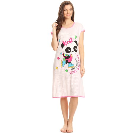 15020 Womens Nightgown Sleepwear Pajamas - Woman Sleeveless Sleep Dress Nightshirt Pink # 76 M