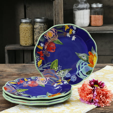 The Pioneer Woman Celia Blue 8.75-Inch Salad Plates, Set of (Blue Rim Salad Plate)