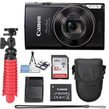 Canon PowerShot ELPH 360 20.2 MP HS Digital Camera (Black) Wi-Fi with 12x Optical Zoom + 32GB Memory Card + Flexible Spider Tripod + Travel Camera Case + Point & Shoot Camera Accessories