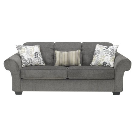 ashley makonnen chenille queen size sleeper sofa in charcoal. Black Bedroom Furniture Sets. Home Design Ideas