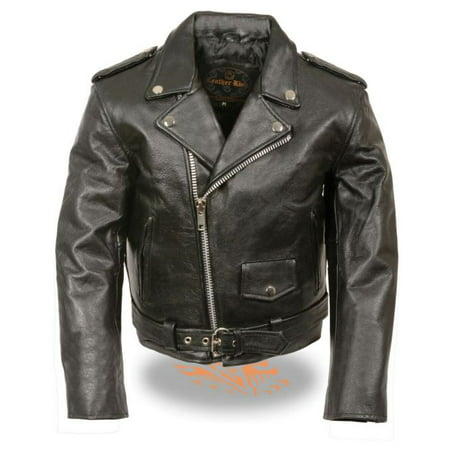 Milwaukee Leather Kid's Traditional Style Motorcycle Jacket  Black