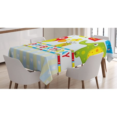 Birthday Decorations for Kids Tablecloth, Patchwork Design Owls Birds Hearts and Boxes Party Theme Art, Rectangular Table Cover for Dining Room Kitchen, 60 X 84 Inches, Multicolor, by Ambesonne for $<!---->