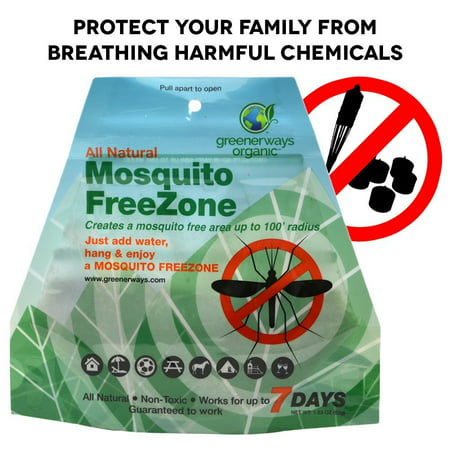 Greenerways Organic Mosquito Repellent Zone - Non-Toxic Organic Insect Repellent All Natural Outdoor Mosquito Pest Control, Bug-Free 24/7 Up to 100 FT Radius, DEET-FREE safe for Kids, Babies, (Best All Natural Bug Repellent)