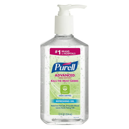 PURELL Advanced Hand Sanitizer Green Certified Refreshing Gel, Fragrance-Free, 12 Oz