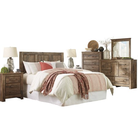 Ashley Furniture Blaneville 6 PC E King Panel Headboard Bedroom Set w/ 2  Nightstand & Chest Brown