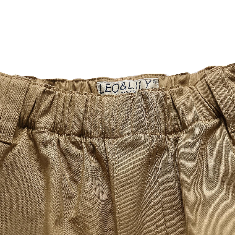 c410f9a375 Leo&Lily Boys Kids 100% Cotton Twill Elastic Waist Regular Fit Pants  Trousers (Khaki,14) LLB4A01