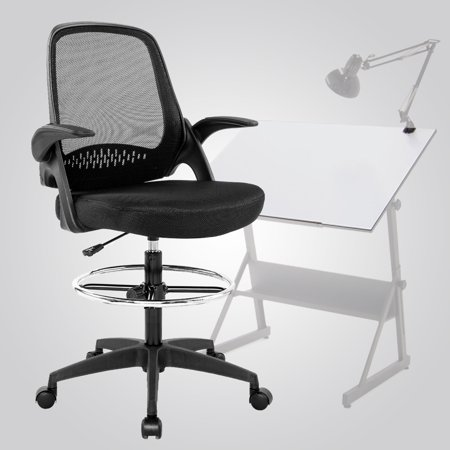 5f253e44b Ergonomic Mid-Back Mesh Drafting Chair With Lumbar Support Flip-Up Arms Desk  Computer