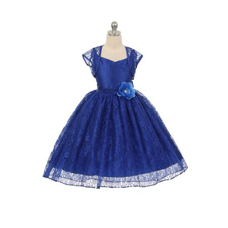 Girls Royal Blue Lace Hi-Low Special Occasion Jacket Dress 8