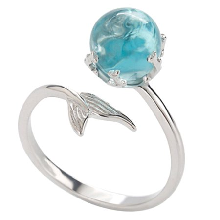 Fancyleo Fashion European and American Blue Crystal Mermaid Foam Opening Ring Valentine's Day Mother's Day Thanksgiving Gift,2 Pcs