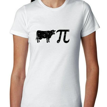Cow Pie With Math Pi Symbol - Hilarious Graphic Women's Cotton T-Shirt