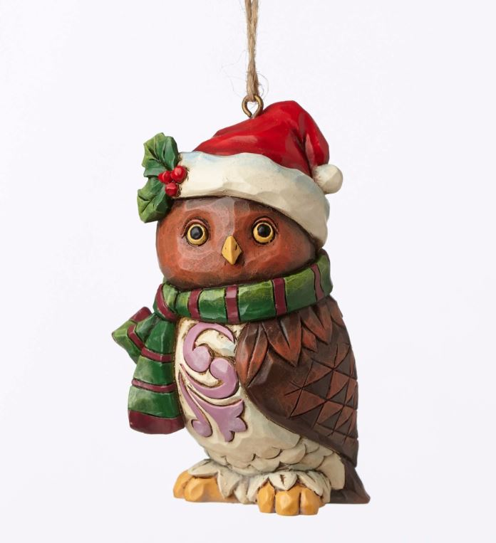 Jim Shore Heartwood Creek Christmas Owl with Santa Hat Mini Ornament 4053848 New
