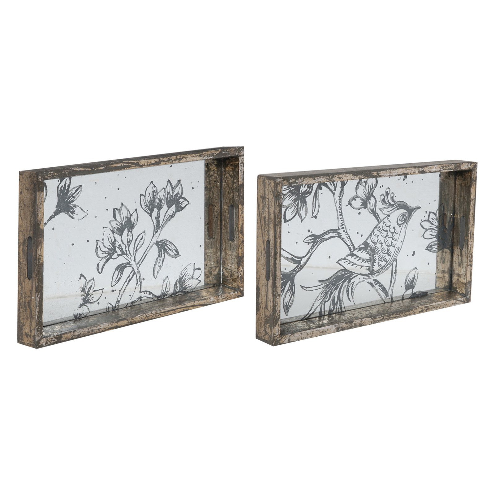Image of A and B Home Bird and Flowers Serving Trays - Set of 2
