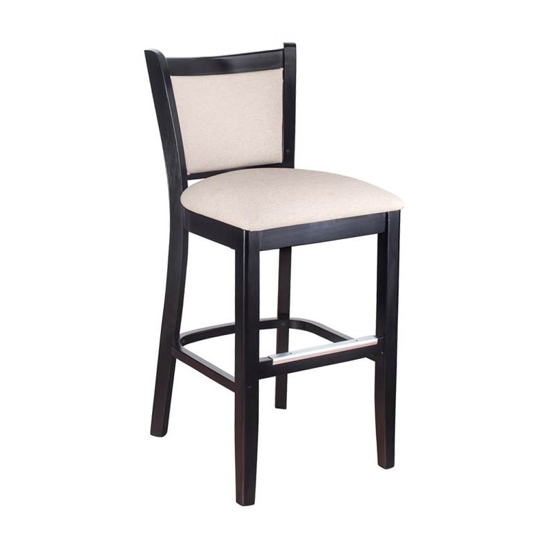 Curtain Back Counter Stool in Black with Upholstered Back
