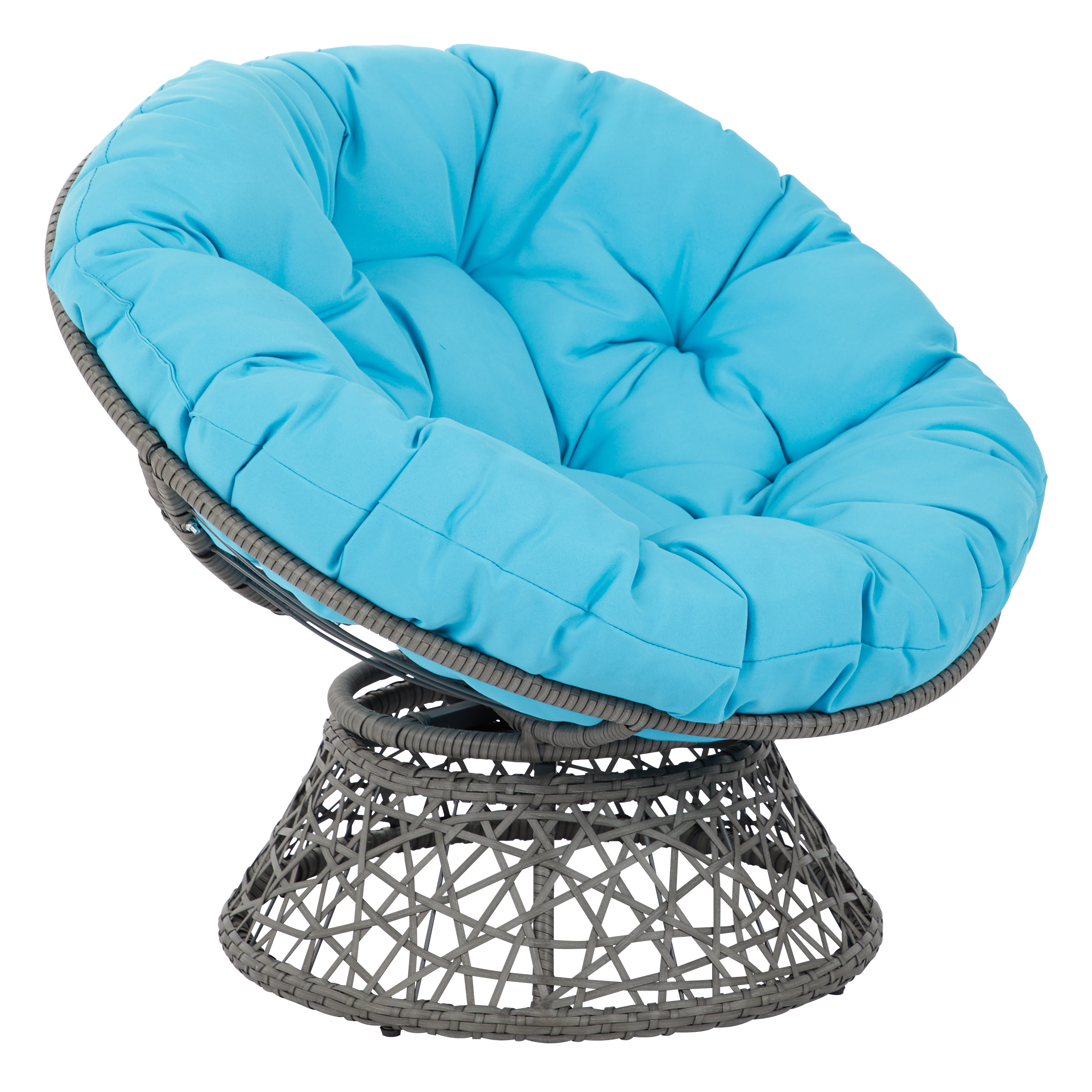 Papasan Chair with Blue cushion and Grey Frame