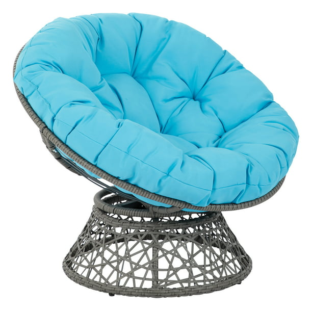 OSP Designs by Office Star Products Papasan Chair with Blue Cushion and Grey Frame