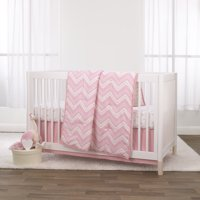 Little Love by NoJo Pink Chevron 3 Piece Crib Bedding Set - Comforter, Fitted Crib Sheet and Dust Ruffle - Pink, White and Gold