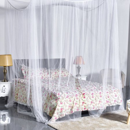 Four Corner Post Elegant Mosquito Net Bed Canopy Set, Beige, Full/Queen/King