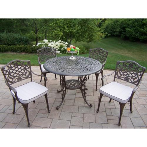 Oakland Living Corporation Dakota Antique Bronze Cast Aluminum 5-piece Weather-resistant Dining Set with Cushions