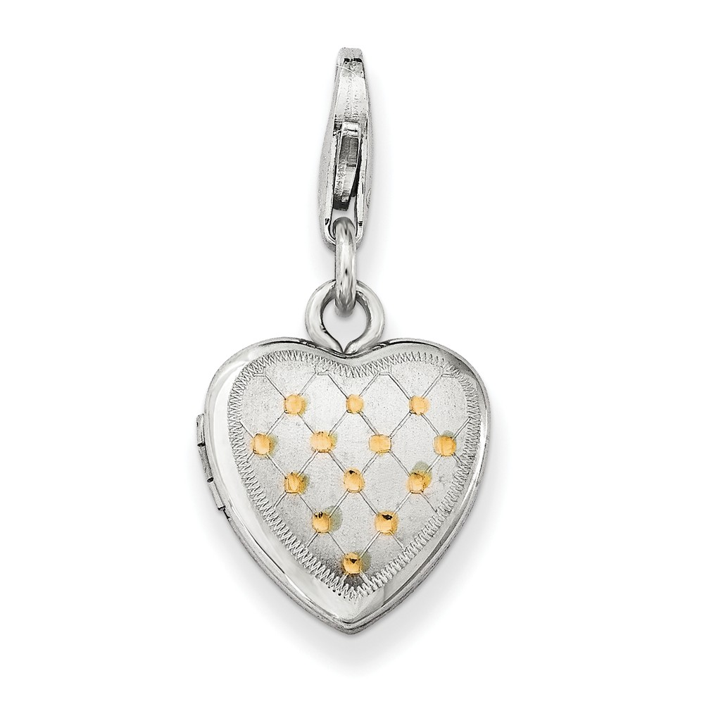 Sterling Silver 0.4IN Gold-Plated Patterned Lobster Clasp Heart Locket (0.5IN x 0.4IN )
